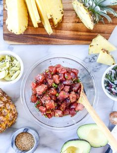 ahi poke bowl with avocado and pineapple Poke Bowl, Sushi, Ahi Poke, Tuna Poke, Poke Recipe, Avocado, How To Cook Fish, How Sweet Eats, Seafood Recipes