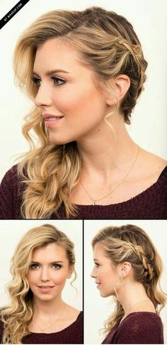 Semi-picked side hairstyles, with waves, loops and braids - De Peinados Side Braid Hairstyles, Wedding Hairstyles For Long Hair, Formal Hairstyles, Down Hairstyles, Wedding Hairdos, Wedding Braids, Spring Hairstyles, Medium Hair Styles, Curly Hair Styles