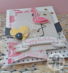 Gift holder by Sarah Gough. Reverse Confetti stamp sets: Fabulous Flamingo and Beautiful Banners. Confetti Cuts: Fabulous Flamingo, Love Note, Triple Chevies, Tag Me, and Beautiful Banners. Birthday card.
