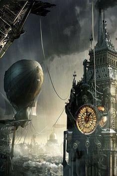 Beautiful London steampunk art [Hot Concept Art by Adam Burn]