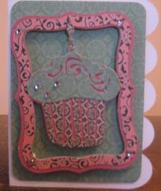 I used my gypsy to weld the frame and gypsy wanderings cupcake. Used Everyday pop up cards for the scalloped card added some jewels with my IROCK.