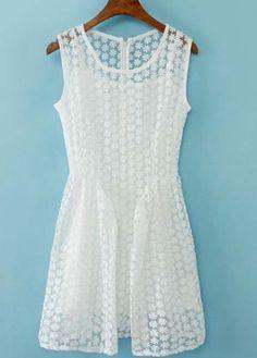 Sweet White Sleeveless Two Piece Organza Dress