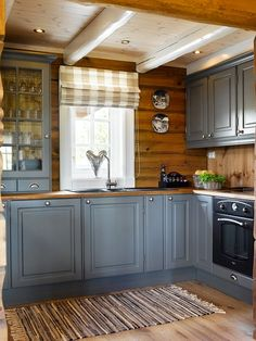 New kitchen interior vintage 30 Ideas Kitchen Cabinets Decor, Kitchen Interior, Kitchen Ideas, Grey Cabinets, Design Kitchen, Country Interior, Rustic Cabinets, Cabin Homes, Log Homes