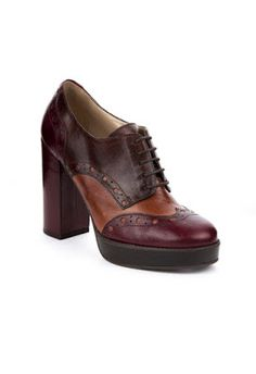 LACED SHOE IN BORDEAUX, TAN AND BROWN LEATHER; HEEL HEIGHT 10CM PLATEAUX 1,8CM