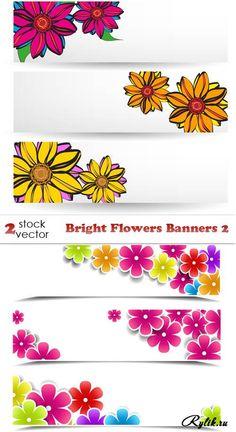 Баннеры с нарисованными цветами вектор. Flowers Banners Vector