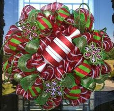 Peppermint Kisses Deluxe Christmas deco mesh Wreath by abigail