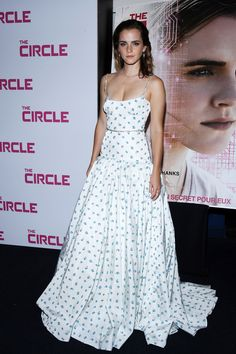 "Emma Watson at Paris premiere for ""the Circle"" in custom Miu Miu gown"