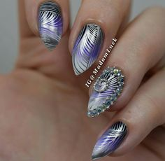 Stamping nail art over gradient with AMAZING accent nail (studs and rhinestones)