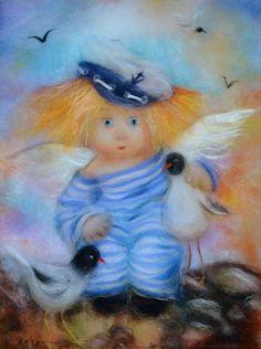 """""""У самого синего моря"""" свободный перевод картины Г. Чувиляевой. Автор Ксения Мороз Polymer Clay Figures, Easy Canvas Painting, Angel Art, Handmade Design, Cherub, Cute Baby Animals, Love Art, Watercolor Art, Cute Pictures"""