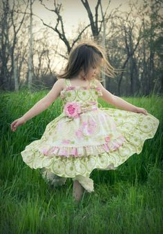 Spring twirl dress with apron in soft by SugarButtonsClothing