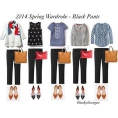 """Spring Wardrobe - Black Pants"" by bluehydrangea on Polyvore"