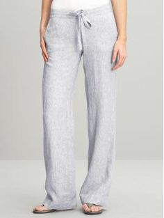$79 Banana Republic - white t-shirt, leather thong sandals and these pants are my summer wardrobe