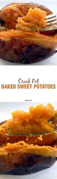 Slow Cooker Baked Sweet Potatoes are a simple and delicious way to enjoy baked sweet potatoes.  #bakedpotatoes #sweetpotatoes
