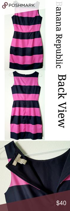 Navy and Pink striped dress Beautiful and elegant dress with a silky look and feel. A classy neckline, fully lined, back zipper closure. Wear it by itself or under a blazer for a more sofisticatated look. In excellent LIKE NEW condition. Banana Republic Dresses Midi
