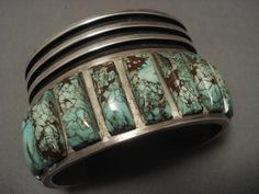 INCREDIBLY LARGE VINTAGE NAVAJO CRIPPLE CREEK TURQUOISE SILVER BRACELET in Collectibles, Jewelry & Watches   eBay