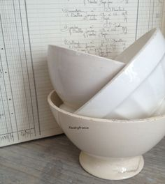 FleaingFrance Brocante Society Cream/White Cafe au Lait Bowls