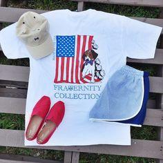 ❤️! @fraternitycollection tee {35} @fraternitycollection hat {29} seersucker shorts {39} @toms shoes {48} #memorialdayfashion #memorialday #weekendwear #casual #comfy #shopjuneandbeyond #juneandbeyondboutique