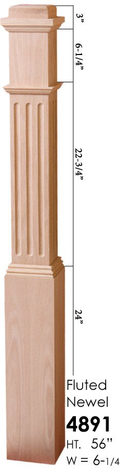 Cheap Stair Parts - 4891 Fluted Box Newel, $165.00 (http://cheapstairparts.com/4891-fluted-box-newel/)