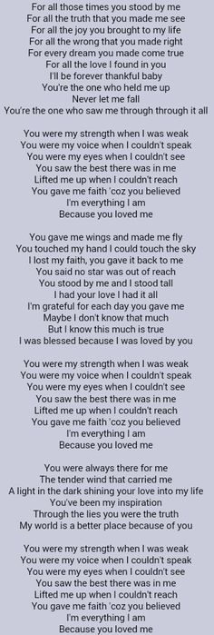 Celine Dion ~ Because You Loved Me