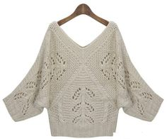 Пуловер спицами с рукавами летучая мышь