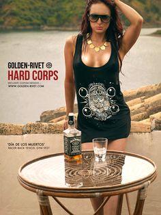 Hard Corps 'Día De Los Muertos' women's low cut racerback vest - hand printed. JOIN THE FIGHT!