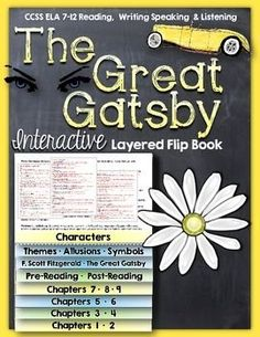 The Great Gatsby: Interactive Layered Flip Book Reading Literature Guide Middle School Writing, Middle School English, Teaching American Literature, Teaching English, English Lessons, Ap English, Interactive Student Notebooks, English Classroom, English Teachers