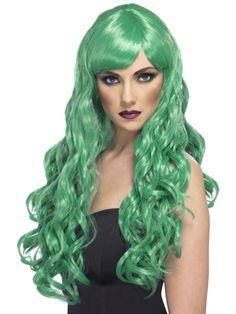 Perruque longue ondulée verte