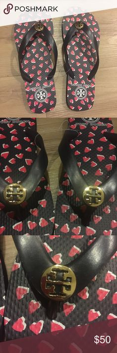 *NEW* Tory Burch heart flip flops NEW heart Tory Burch flip flops. 100% AUTHENTIC! Super cute adorable heart flip flops. Tory Burch Shoes Slippers