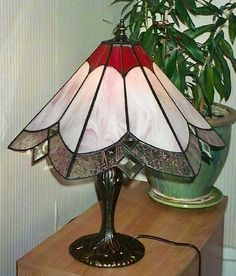 Stained glass pink bevel lamp
