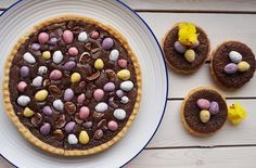 This delicious, gooey and rich Mini Egg brownie tart is one of our favourites in this collection. It is so simple to make and is a naughty Easter treat especially when served warm with ice cream or fresh pouring cream.Get the recipe: Mini Egg brownie tart Mini Egg Recipes, Tart Recipes, Easter Recipes, Baking Recipes, Sweet Recipes, Dessert Recipes, Baking Desserts, Snack Recipes, Luxury Food