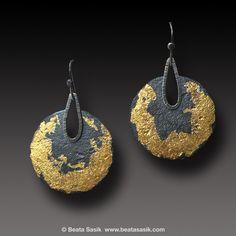 Organic texture Silver Earrings Keum Boo Sterling Silver 24 k Gold Earrings | Beata Sasik