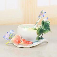 Enamel Iris Coffee Mug