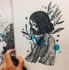 """Mi piace"": 1,675, commenti: 14 - Kathrin Honesta (@kathrinhonestaa) su Instagram: ""Blue  #midnightdoodling #kathrinhonesta"""