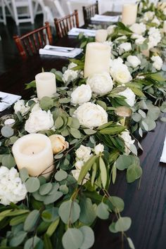 2017 trending elegant wedding centerpiece ideas with white and green floral | Winter wedding centerpiece #weddingcandlesdesign