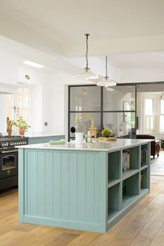The Trinity Blue Kitchen by deVOL: scandinavian Kitchen by deVOL Kitchens Devol Shaker Kitchen, Shaker Style Kitchen Cabinets, Devol Kitchens, Shaker Style Kitchens, Kitchen Cabinet Styles, Kitchen Layout, Kitchen Island, Open Cabinets, Blue Cabinets