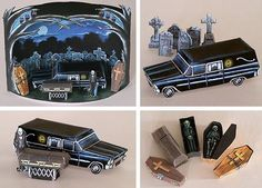 """Halloween Special - The Hearse Playset Paper Model Diorama - by Ray O`Bannon  ==  """"The Hearse Playset includes all the strange little items shown above. The 2"""" coffins may be opened to reveal either the Nosferatu, the Skeleton, or a particularly disgusting little Zombie. And the background diarama will provide you with your own little slice of eternal midnight."""" - Ray O`Bannon"""