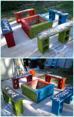 01. DIY Cobble Garden Firepit with Bench Make a cobble patio with central firepit and a customized surrounding bench for seating and fire wood storage. Image and Instructions: Instructables 02. Propane fire pit & Corner benches Customize your own propane fire pit, with corner benches out of 2*4 timber and block pillars with planters, get service from landscaping pro or make your own if you are a pro on your own. Image: Houzz 03. DIY Quick Block Firepit Image and Instructions: Red Door Hom...