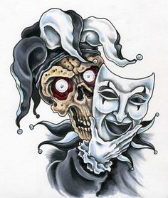 Skull Tattoo With Jester Hat. Jester Tattoo, Clown Tattoo, Mask Tattoo, Skull Tattoos, Tatoos, Evil Jester, Jester Hat, Court Jester, Evil Clowns