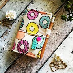 Fabric fauxdori Midori style travellers refillable notebook - Ninnydori - Donut design *INCLUDES HANDMADE CHARM*