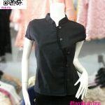 เสื้อผ้าไทยสีดำ เสื้อผ้าฝ้ายสีดำ เสื้อใส่ผ้าซิ่นสีดำ เสื้อผ้าฝ้ายสีดำคอจีนกระดุมหน้า