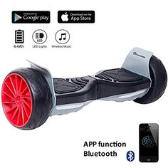EVERCROSS 8.5 Hoverboard Scooter Patinete del mano Eléctrico Bluetooth APP self balancing 350WX2 Challenger GT (Black)
