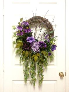 Gorgeous Purple Floral Wreath, Summer Wreaths for Door, Summer Wreath, Summer…