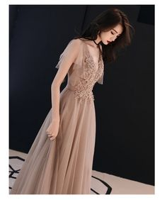 Brown lace tulle v-neck short sleeve evening dress, celebrity sexy party prom dress original design