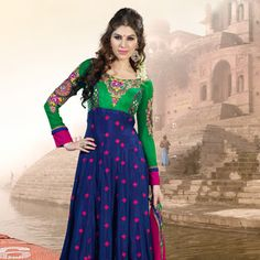 Green and Blue Faux Georgette Churidar Kameez