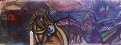 Encargo realizado sobre tela, tema Chiloe.