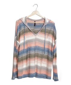 Take a look at this Coral Stripe Canopy Sweater by Gentle Fawn on #zulily today!