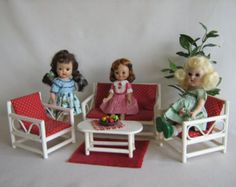 Vintage Doll Furniture White Bentwood Porch or Patio Set in Play Scale