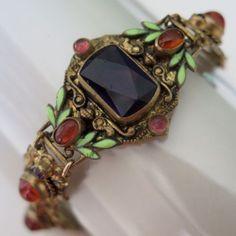 Vintage-Art-Deco-Czech-Amethyst-Givre-Glass-Enamel-Neiger-Bros-Bracelet