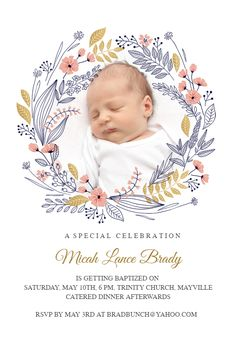 Wreath invitation template. Customize, add text and photos. Print, download, send online for free! #invitations #printable #diy #template #Baptism #christening