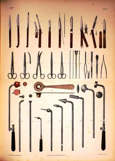 ~ drawings of vintage medical instruments to framed ~